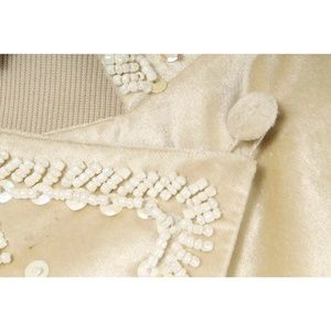 BCBGirls Jackets & Coats - BCBGirls Cream Bead & Sequin Velvet Cutaway Blazer